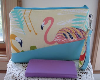 Large Clutch Wristlet Zipper Gadget Pouch Bag Funky Flamingos Vegan Faux Leather Removable Wrist Strap