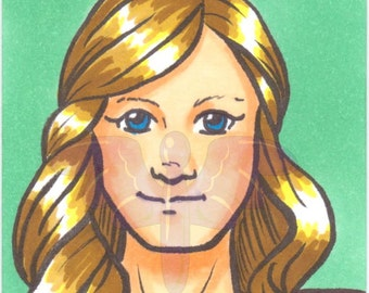 Supergirl, Artist Trading Card, ACEO, art card, Original art, Ink, Marker, OOAK