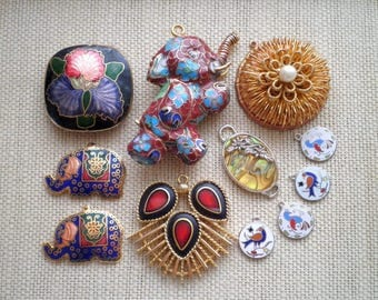 Vintage Enamel Cloisonne Abalone Bead Charm & Pendant Lot - Elephant Bird Flower Destash Retro Animal + Floral Plant Jewellery VTG Charms