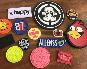 """100 PVC patches - up to 3 colors - up to 3""""x3"""" - Made in USA"""