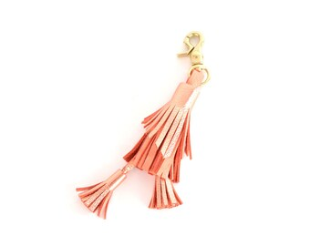 Leather Tassel Keychain- Coral/Copper