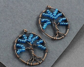 SALE - Tree of Life Earrings - Copper and Blue Glass - CLEARANCE