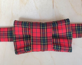 Holiday Plaid Bow Tie For Cats - Red Plaid