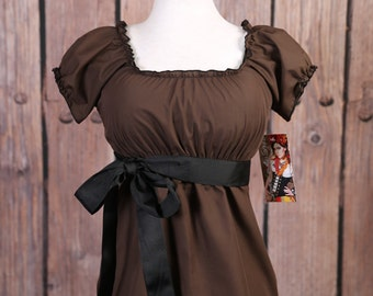 SIZE L Chocolate Brown Blouse with Cap Sleeves