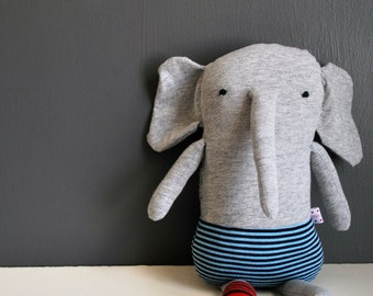 One Sock Heather Gray Elephant Plushie in Blue Striped Underwear--made from recycled tees