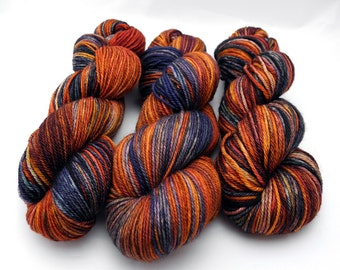 Gasoline Rainbow Watercolor Stripes-- Dyed to Order Self Striping Hand Dyed Targhee Sock Yarn