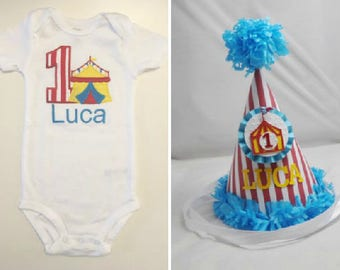 Circus 1st Birthday Shirt Bodysuit & Party Hat Set- Personalized