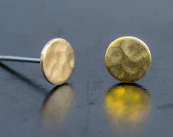 Circle Shape Brass Stud Earrings-Hammered Texture