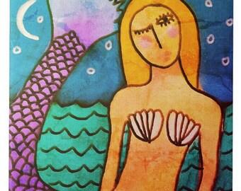 Mermaid in the Moonlight Abstract Digital Painting Printed on Ceramic Tile