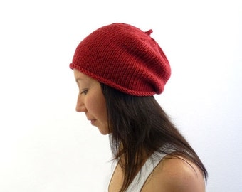 15% OFF SALE: Made in France Beret Slouch Hat / Beanie. Red Merino. Urban Paris Style. Spring / Fall / Winter Fashion. Hand Knit in France.