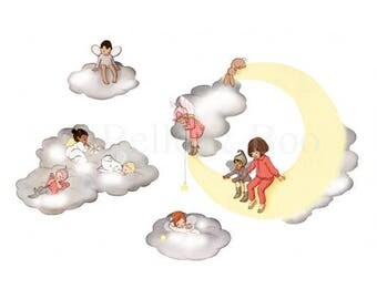 Fairies wall decal angels wall stickers cloud fairies