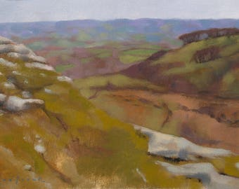 Purple Hills, Dartmoor, landscape oil painting, direct from artist