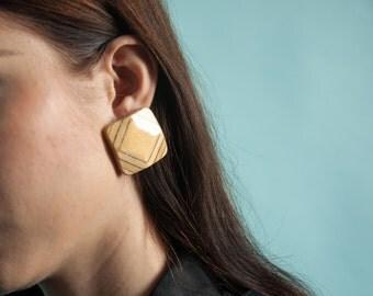 square wood earrings / geometric earrings / 1120a