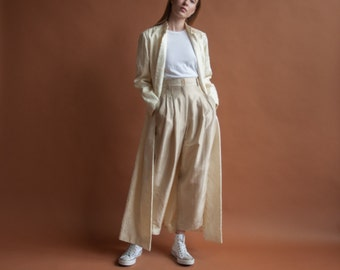 cream 60s floral brocade duster coat / white flower opera coat / long 60s tapestry coat / s / m / 2124o / R4