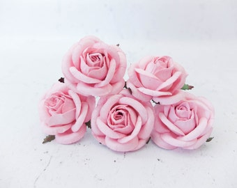 5 50mm/2 inches large pink mulberry roses - paper flowers