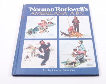 Norman Rockwell's Americana ABC - Vintage Children's Book - Alphabet ~ The Pink Room ~ 161002B
