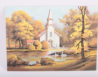 Vintage, Completed, Paint By Numbers, Church In Country, Swans , Oil Painting, 1970s, 70s, 1980s, 80s ~ The Pink Room ~ 161011