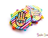Polymer clay Hamsa stripes round flat beads - colorful beads with bumps - evil eye beads (2)