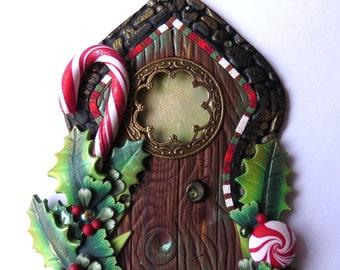 Candy Cane Elf Door Miniature Fairy Door for the Holidays Polymer Clay Christmas Wall Decor