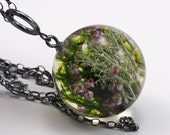 Woodland Necklace, Dark Silver, Heather Necklace, Moss Necklace, Resin Necklace Resin Pendant, Moss Pendant, Resin Jewelry, resin Art