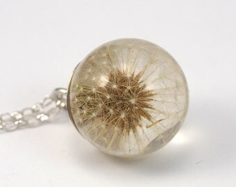 Dandelion Necklace, Dandelion Pendant,Dandelion Resin, Silver Jewelry, Resin Ball, Resin Dandelion, Resin Sphere, Wish Jewelry,