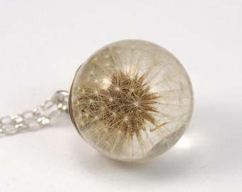 Dandelion Necklace, Dandelion Pendant,Dandelion Resin, Silver Jewelry, Resin Ball, Resin Dandelion, Resin Sphere, Wish Jewelry,