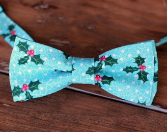 Mens Christmas Bow Tie - mens holly berry on Blue  Cotton bowtie - bow tie for men, teen boys - mens holiday bow tie