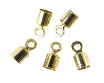 Vintage Gold Plated End Cap Findings (12X) (F590)