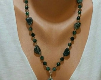 Moss Agate Chain Link Necklace with Pendant