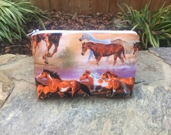 Horse Zipper Pouch,Makeup Bag,Cosmetic Pouch,Flat Bottom Zipper Pouch,Ready to Shp