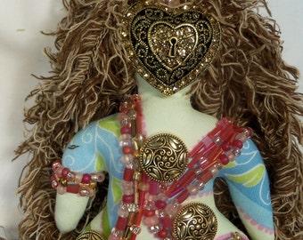 Ooak KEY to my HEART beaded fabric fantasy art doll 8 in. tall plus 4 in. dangle