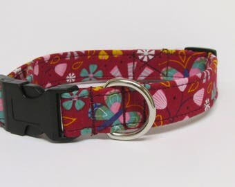 Flowers and Butterfly's Printed Handmade Dog Collar on Wine