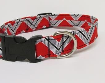 Red Grey Black and White Wide Chevron Printed Handmade Dog Collar