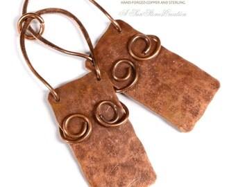 Handmade Rustic Copper Earring Components -  2 pieces EC345