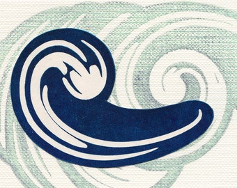 Teal Sacred Water Linocut Print Affordable Art