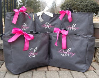 Four Tote Bags, Set of 4, Personalized Bridesmaid Totes Bridal Party Gifts Embroidered Monogrammed Wedding Party Favors