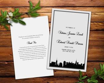 Classic Manhattan Skyline Wedding Ceremony Programs