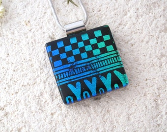 Black Blue & Green Necklace, Dichroic Necklace, Fused Glass Jewelry, Dichroic Jewelry, Contemporary Pendant Necklace, 102116p100