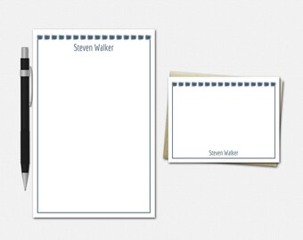 Boxed In Stationery Set - Personalised Stationary Set - 50 Color Choices - Personalized Stationery for Men