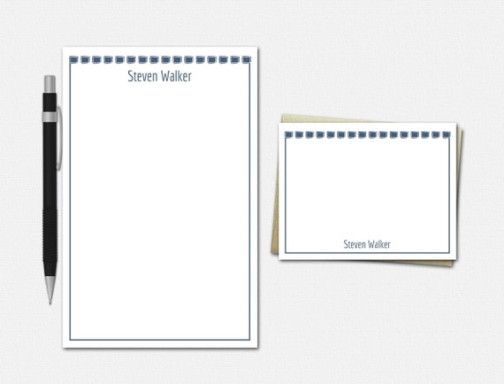 Personalized Stationery Set, Personalised Stationary Set, Boxed In, 50 Color Choices, Stationery for Men