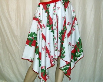Christmas Skirt Pixie Hem Red Green White Holly Upcycled OOAK Vera Tablecloth Skirt Ugly Sweater Office Holiday Party Adult Free Size Elf