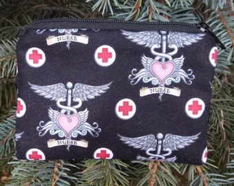 Nurse coin purse, gift card pouch, credit card pouch, Pick Your Color, The Raven