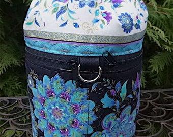 Pretty Knitting bag, drawstring bag, knitting in public bag,  small project bag, Inlaid Medallions, Kipster