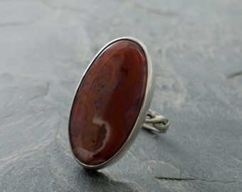 Inca Agate Ring. Oval Gemstone Ring. Gemstone Jewelry. Agate Cabochon. Inca Agate Stone. Statement Ring. Oval Ring. Size 5 Ring