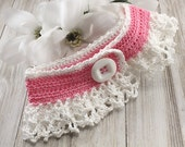 Lace Dog Collar, Victorian Style Dog, Cat Clothing Apparel, Pet Accessory, Fur Baby Clothing Accessory, Pink & White