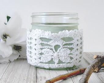 White Lace Butterfly Mason Jar Wrap, Cottage Chic Corset Style Jar Wrap, Rustic Wedding Table Decor, Pint Size Jar Wrap, Country Wedding