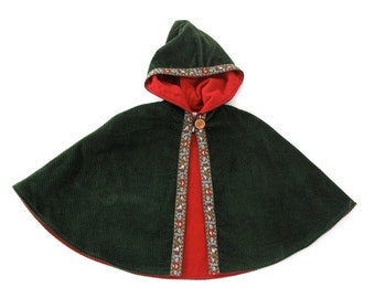 Green Alpine Girl's Cape, Hooded Cape, Warm Corduroy Cape Lined with Red Flannel with Heart & Daisy Ribbon, Girls' Capelet, Coat, Size 2T