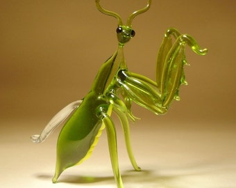 Blown Glass Art Figurine Green Insect PRAYING MANTIS