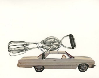 He was still driving around with that old beater. Original collage by Vivienne Strauss.