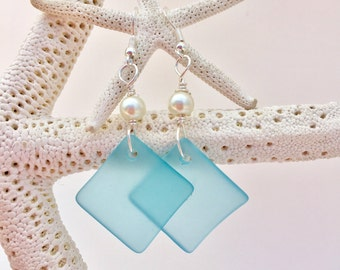 Pacific Bay Blue sea glass earrings ~ beach glass earrings ~ wire wrapped Pearl glass earrings - sea glass jewelry ~ Hawaiian earrings~ blue